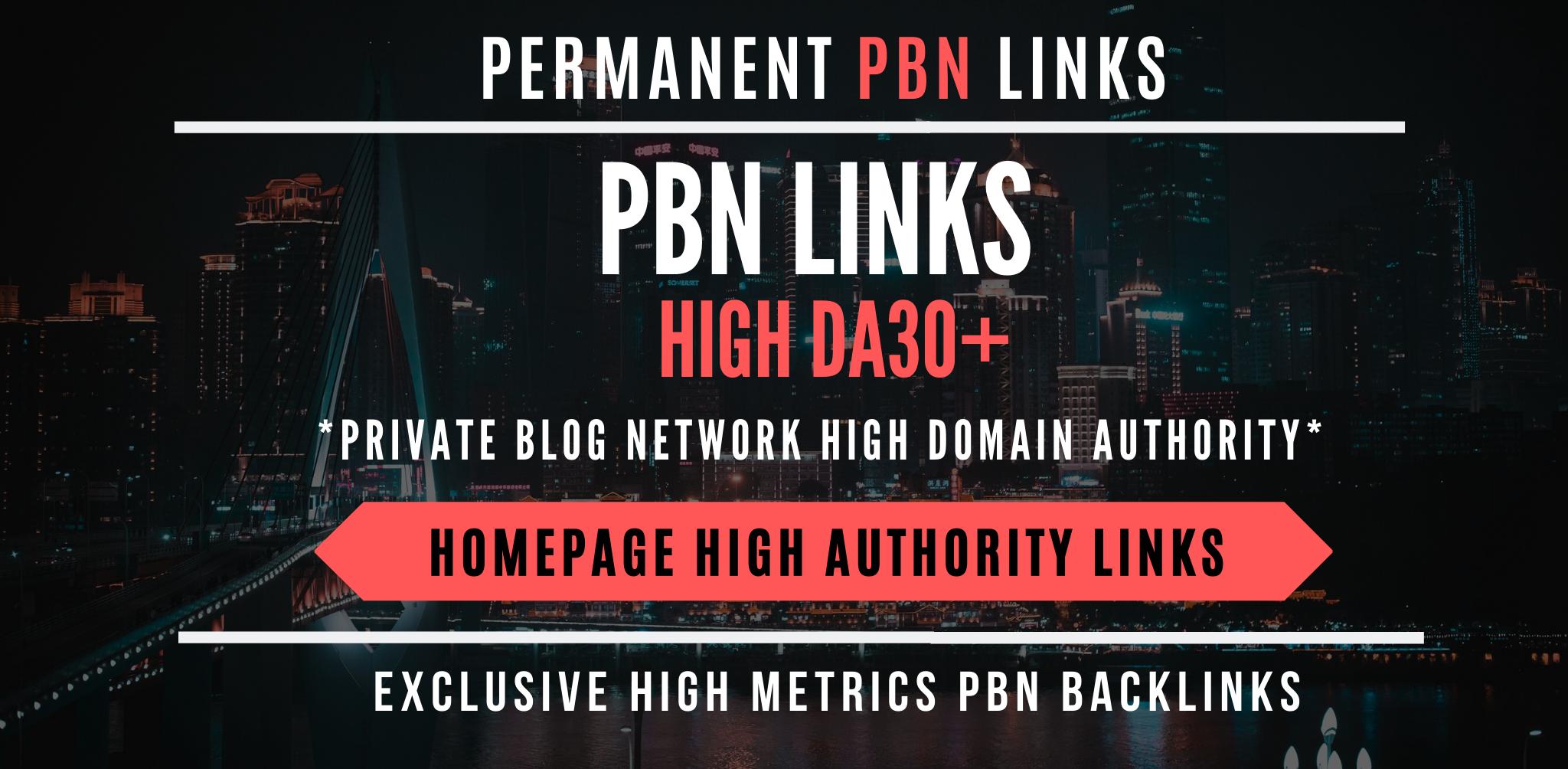 Permanent 100 Contextual Backlink from high DA 20-30+ / TF 15-25+ PBN