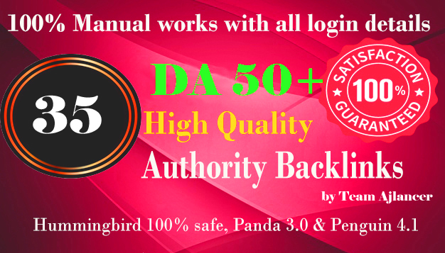 35+ backlinks from DA 50+ Do-follow