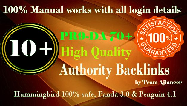 10+ PR9 DA 70+ backlinks for your site