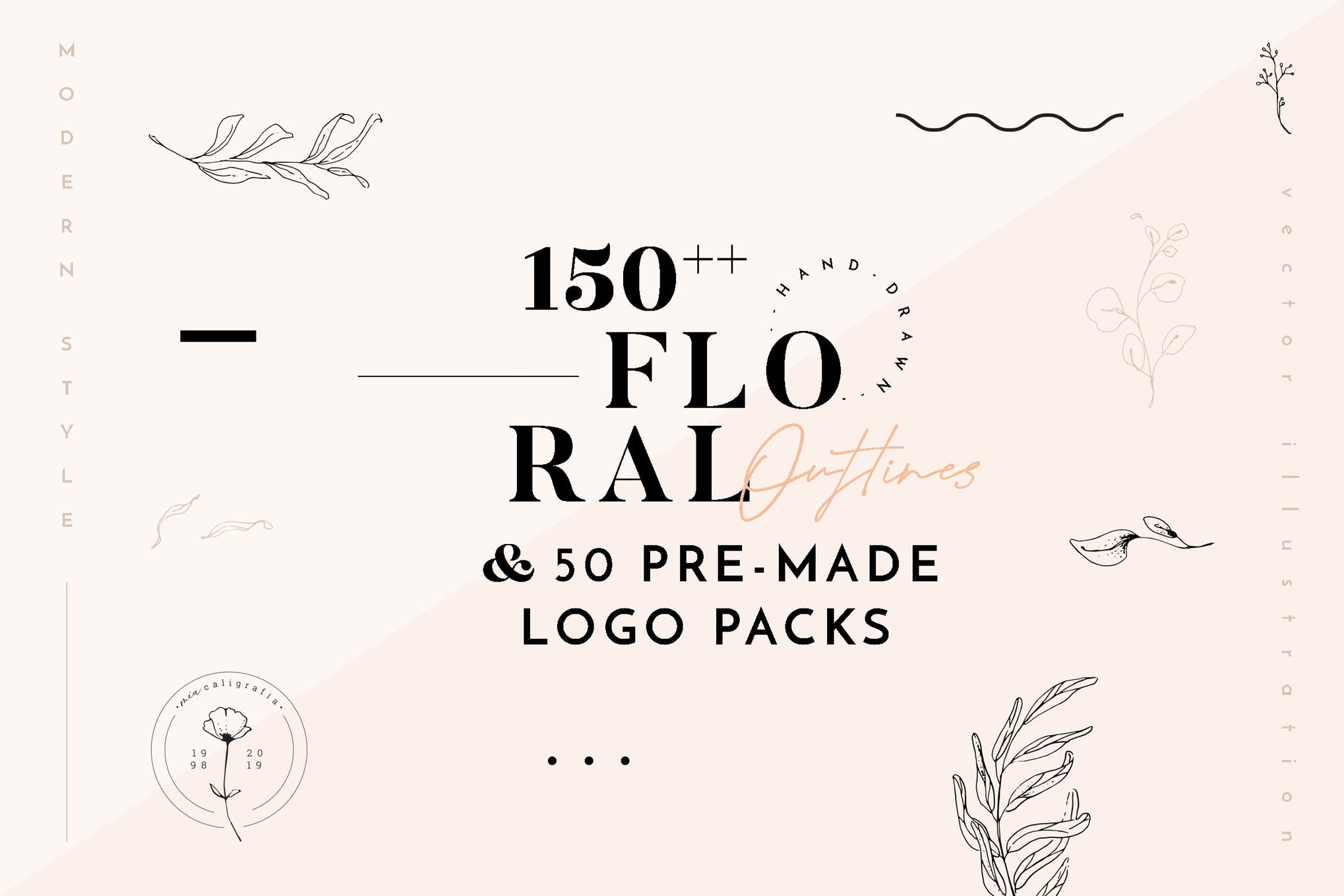 150 Floral Outline Illustration & Logo Pack with FULL rights