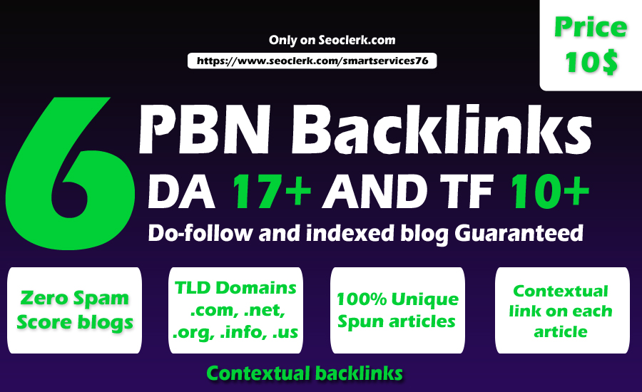 I Will Do High Matrics DA/PA/TF/CF PBN Backlinks With Permanent Contextual Do follow Links