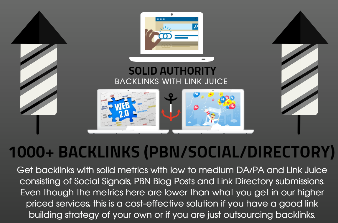 1000 Solid Authority Social Signals with Backlinks Link Juice and PBN Blog Posts