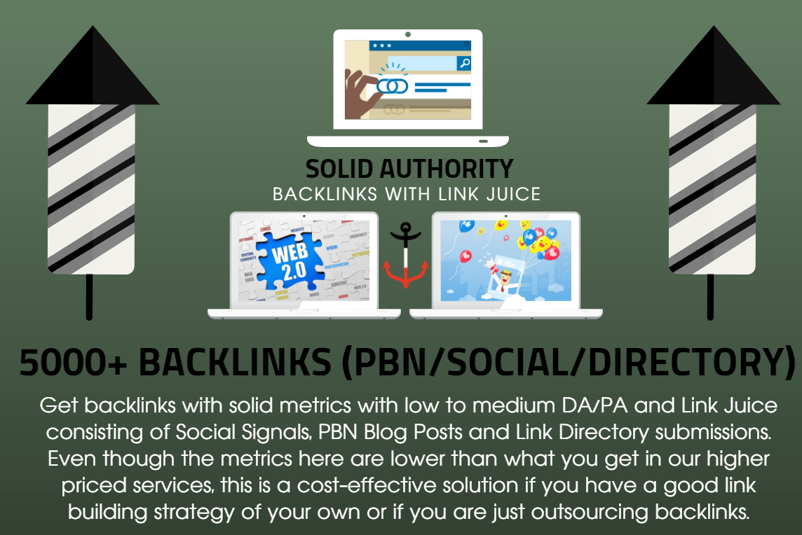 5000 Solid Authority Social Signals with Backlinks Link Juice and PBN Blog Posts