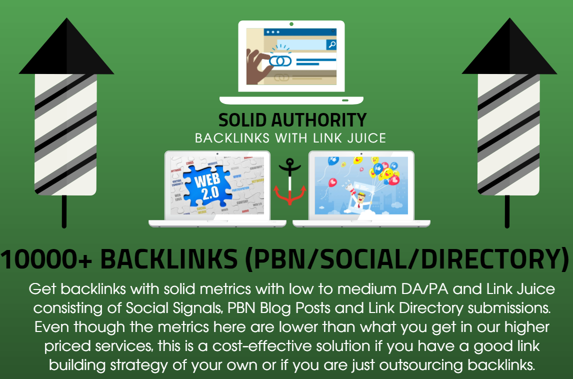 10,000 Solid Authority Social Signals with Backlinks Link Juice and PBN Blog Posts
