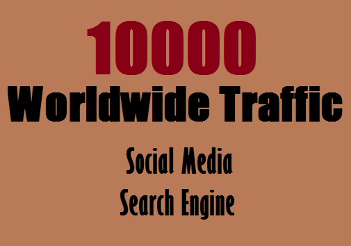 Real 10,000 + Web Traffic WORLDWIDE from Search Engine and Social Media