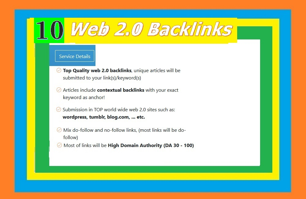 Will Provide 10+ Web 2.0 blogs articles backlinks
