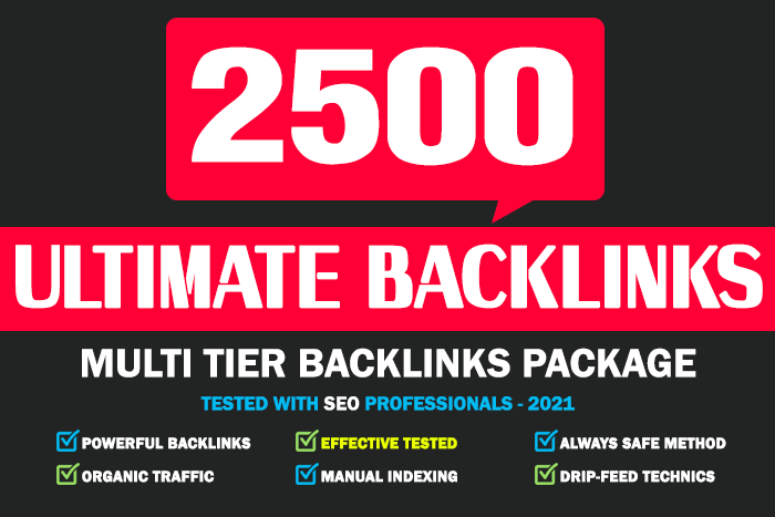 Ultimate Backlinks - 200 Tier 1 Backlinks,  2400 Tier 2 Backlinks manual drip-feed indexing