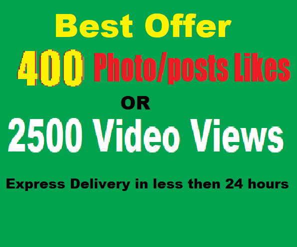Get Fastest 400 social pic likes or Instant 2500 video or story views