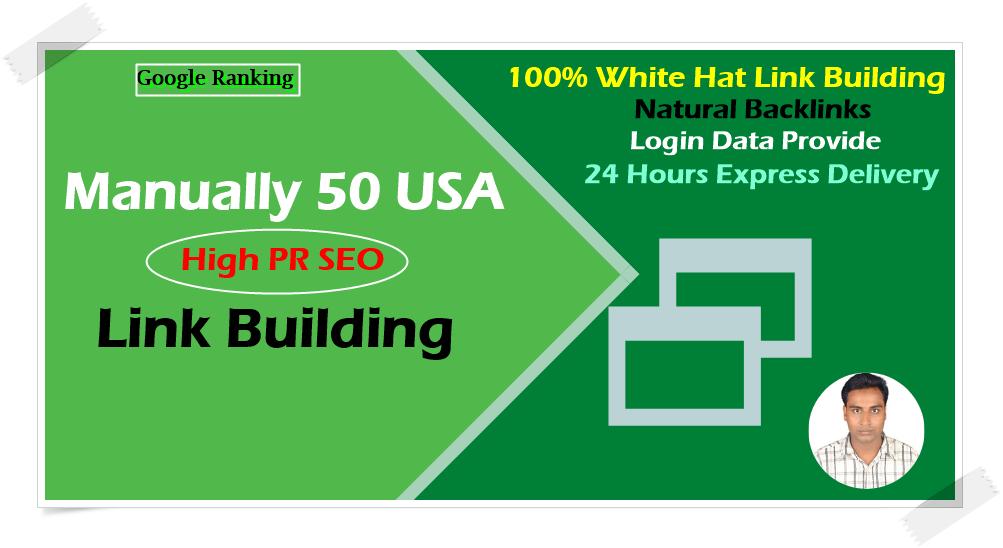 Manually 50 USA Based High PR SEO Link Building