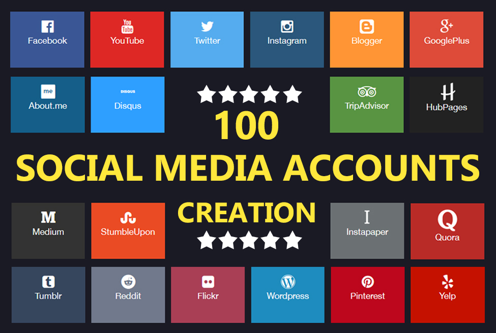 Create 25 Social Media Profile For Brand Creation