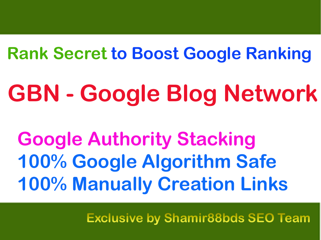 Rank Secret GBN v1 Google Blog Network to Boost Google Ranking