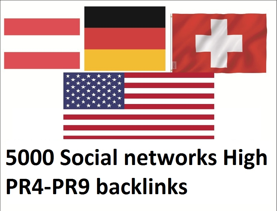 Get 5000 Social Networks High Dominating USA,  german,  austria,  switzerland Backlinks
