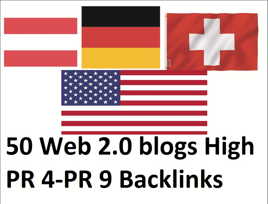 Get 50 Web 2.0 Blogs High Authorized Google Dominating USA,  german,  austria,  switzerland Backlinks