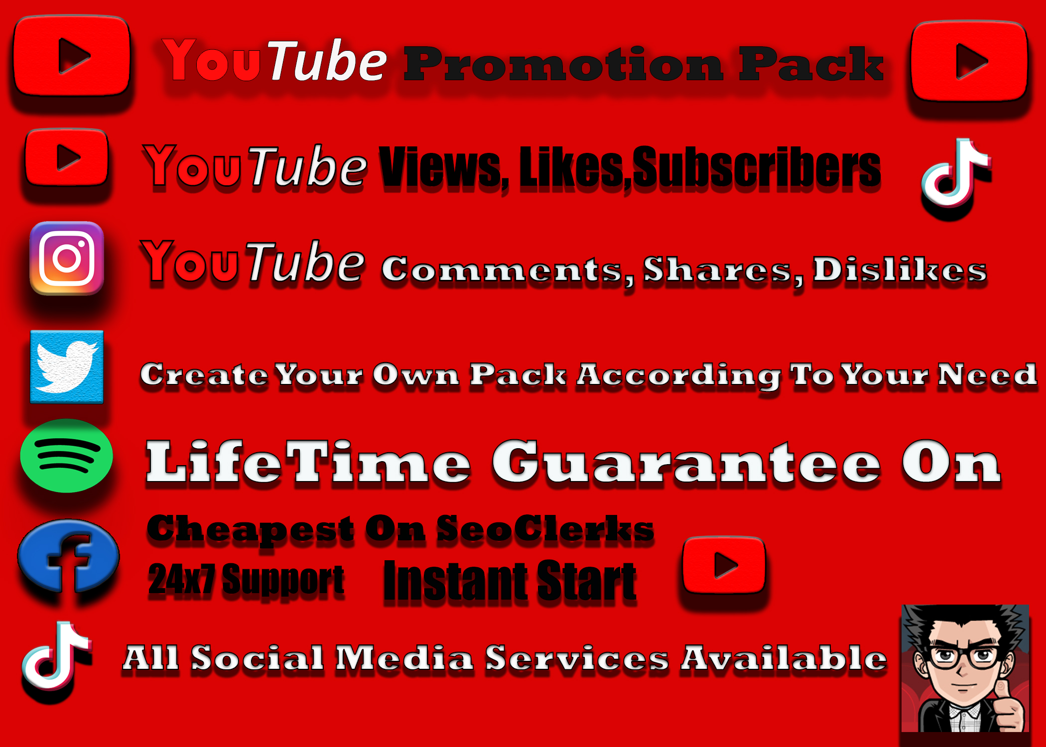 Organic YouTube 5k Video Promotions and 100 Thumbs Up 12-24 hr Delivery Non drop