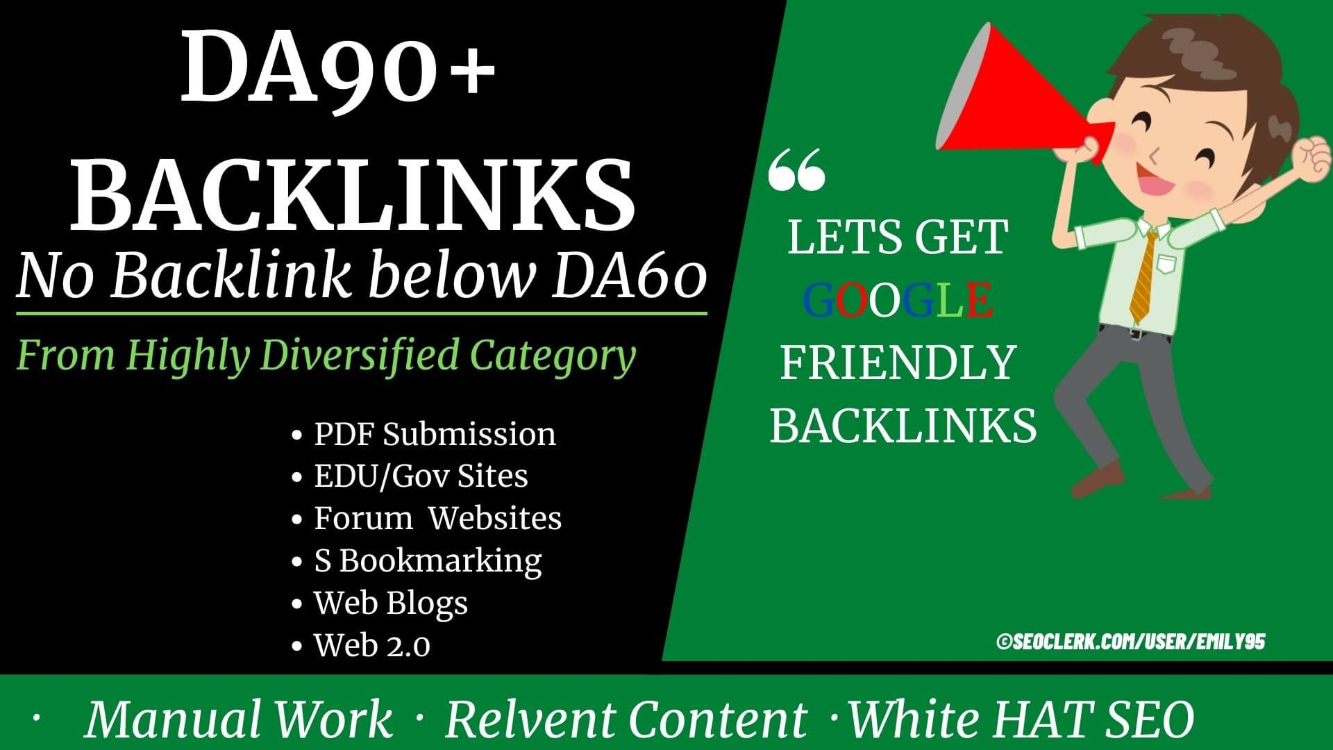 Only DA100 to DA60+ Backlinks For high competition keyword from High DA PA TF CF sites