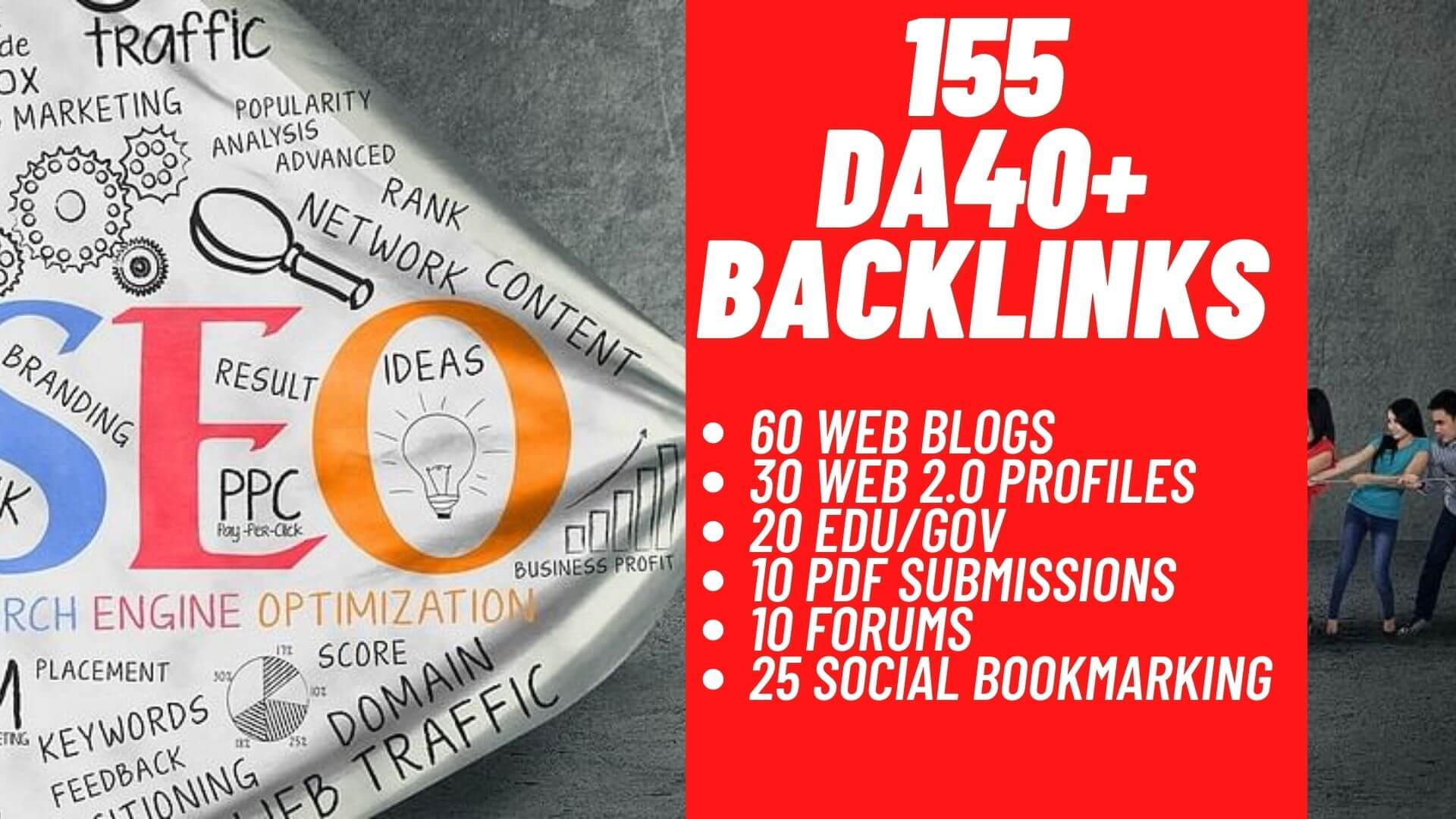Manually 155 DA40+ Backlinks 60 web blogs 30 Web 2.0 Profiles 20 Edu/Gov 10 pdf 10 forums 25
