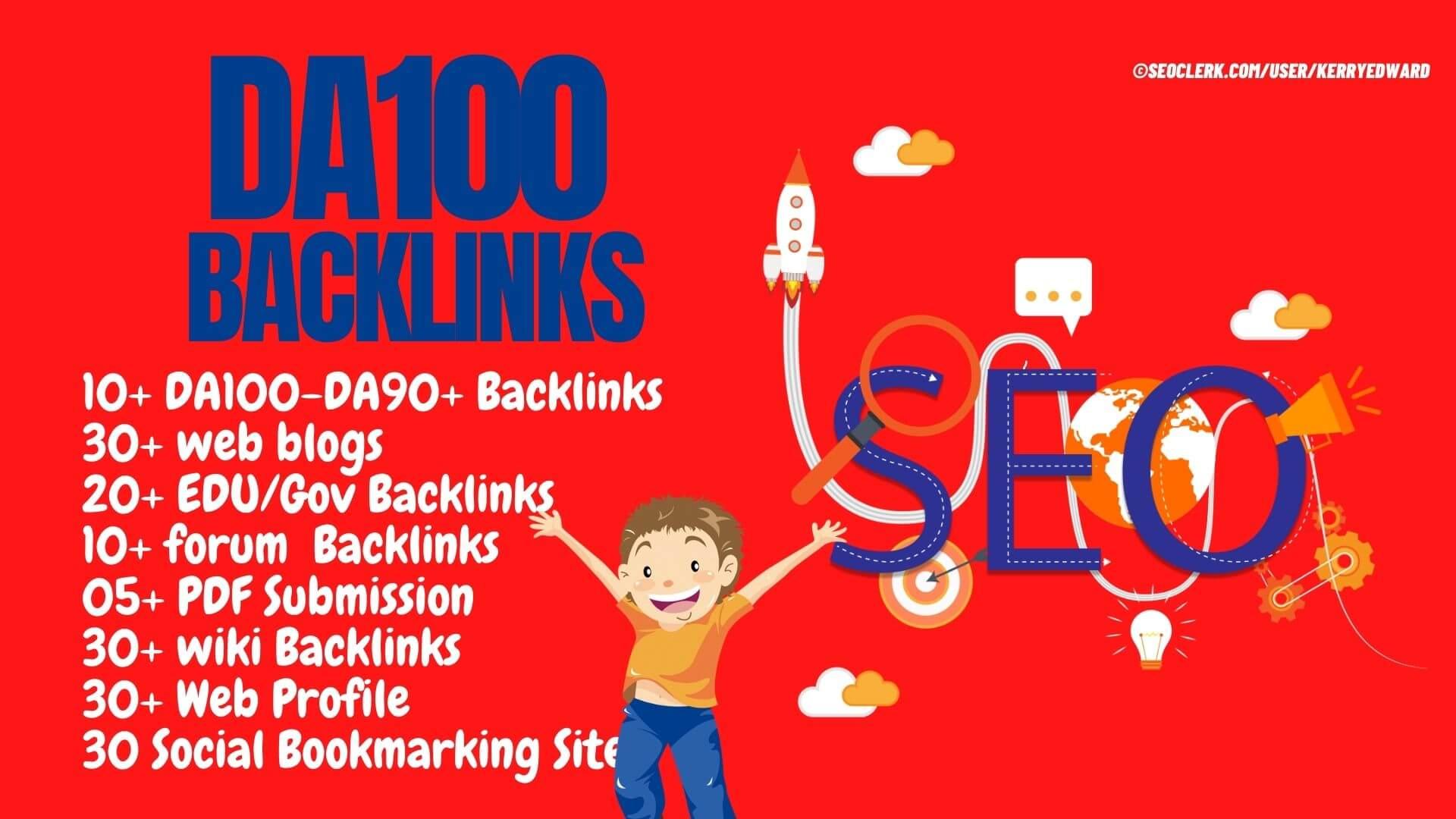 PR10 Backlinks 60 Web,  20 Edu/Gov,  30 Wiki,  30 Web,  30 Social Bookmarking,  10 Forum,  10 DA90+