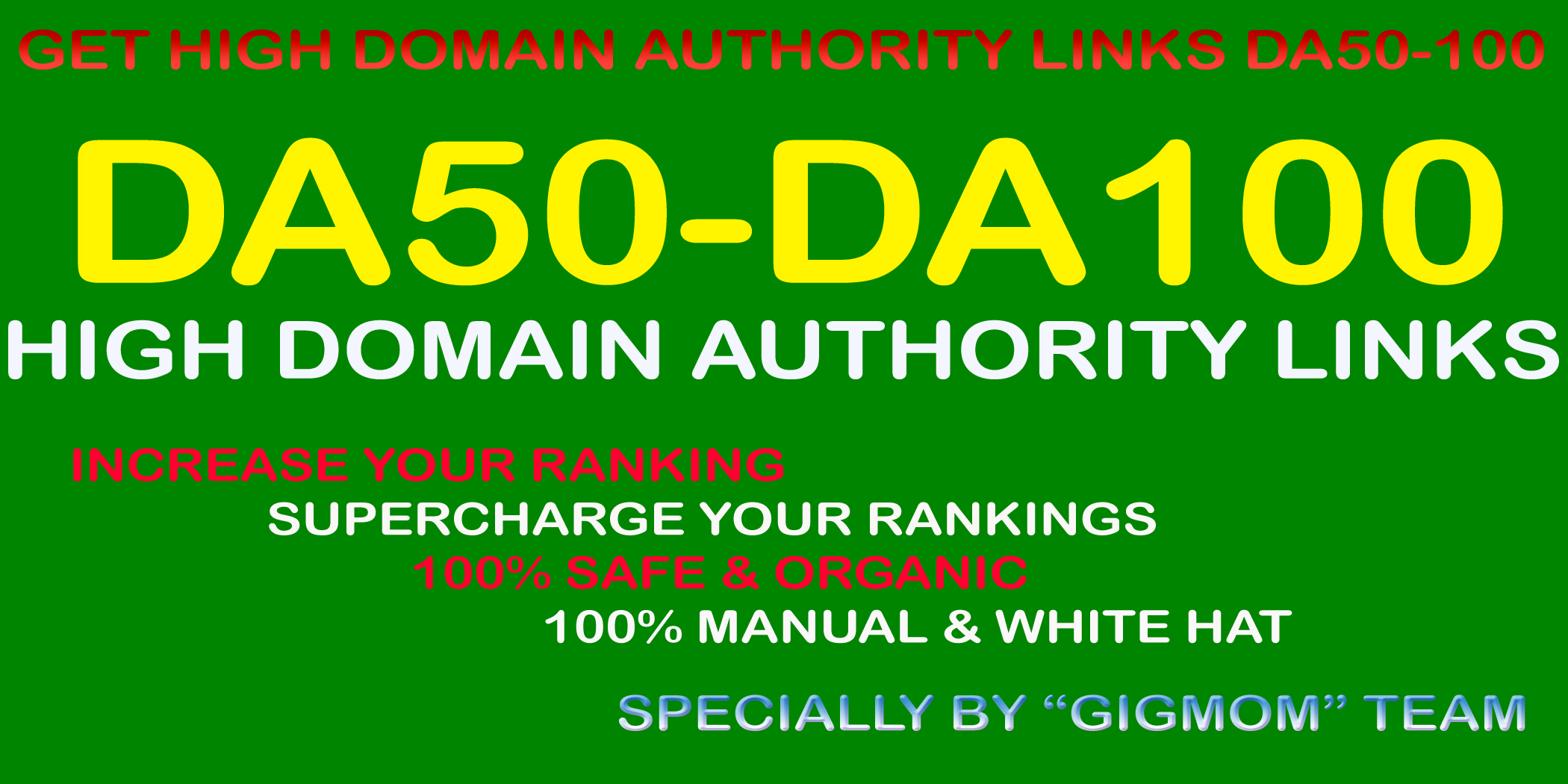 Manually 100 Unique High Authority Links DA50-100 to Rank Higher