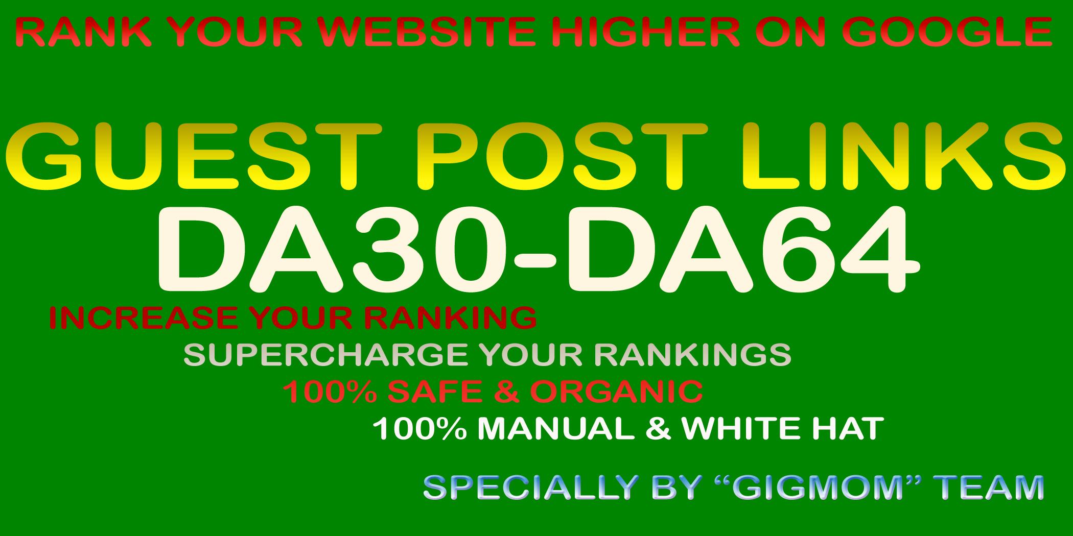 9 Guest Post Links DA30-DA64 High Visitor Blogs to Rank Higher