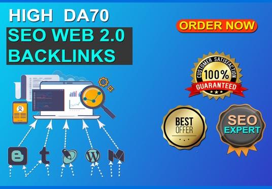 I will Build 50 web 2.0 blogs Baclinks with high PR9 DA70+ SEO Authority Backlinks