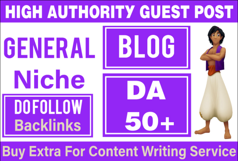 50 High DA Guest Post BackLinks from DA- 50+ Sites