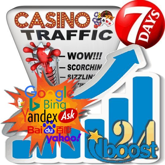 Daily keyword targeted visitors to your Gambling / Casino site for 7 days