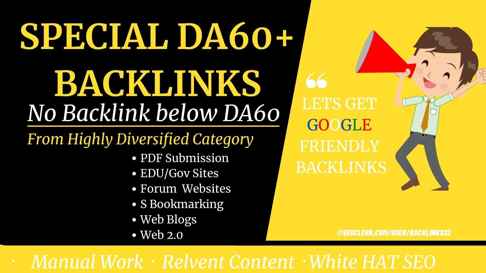 Only DA100 to DA60+ Backlinks- 103 Premium Backlinks for high competition keyword