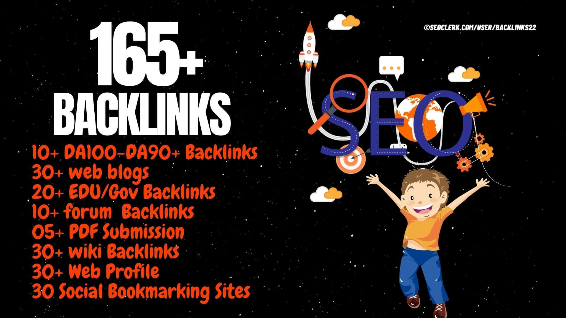 165 Backlinks from DA90+,  Web,  Edu/Gov,  Wiki,  Web,  S Bookmark,  Forum - High DA PA TF CF sites
