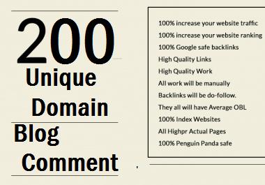 Best Offer 200 Unique Domain Dofollow Backlinks With HIgh DA 100 Plus Sites
