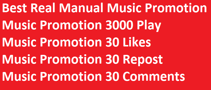 Best Real Manual Music Promotion 3000 Play 30 likes 30 repost 30 comments