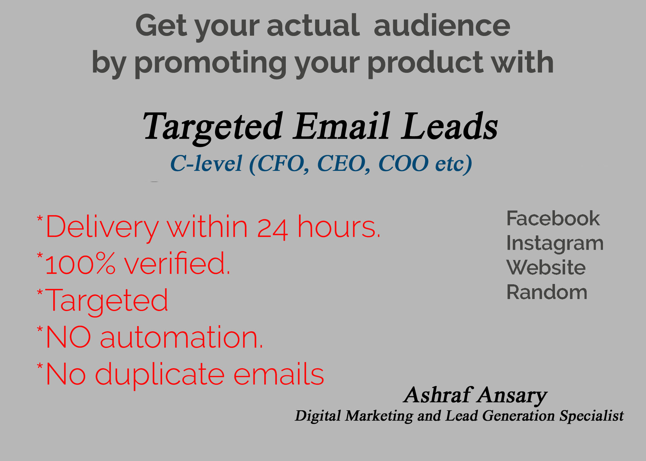Get your Targeted and Industry based CEO,CFO,COO Mail Leads
