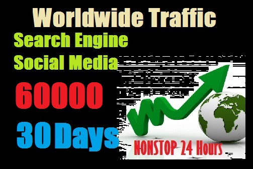 60000 Worldwide traffic from Search engine and social media