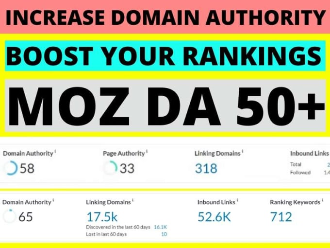 Boost your Domain Authority DA upto 50+ in 30 days