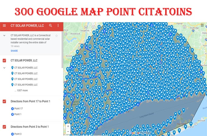 I will create 300 google map point citations for any country