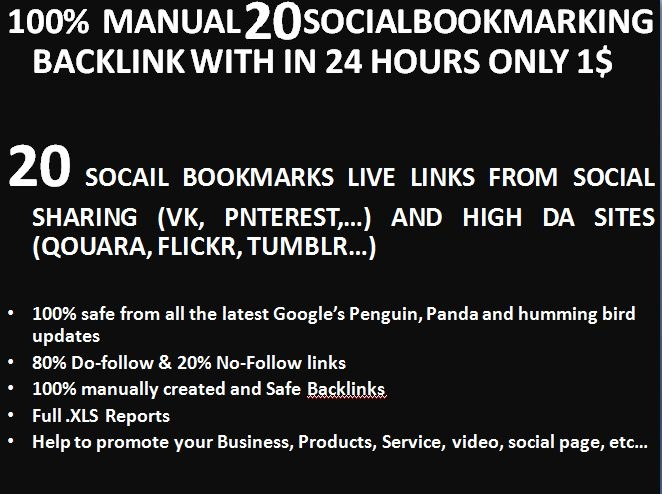 Instant 20 live Manually Social Bookmarking links for you Website or page or video within 24 hours