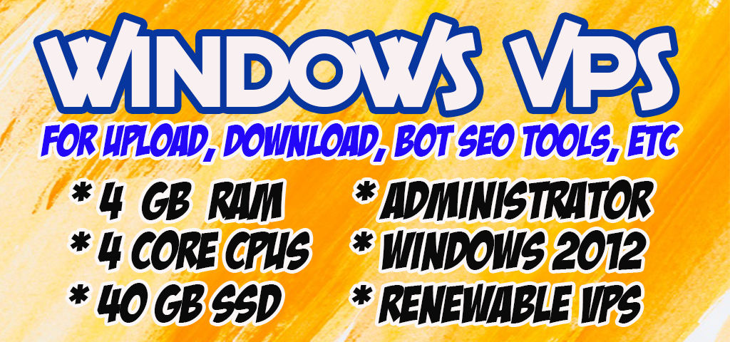 Rdp Windows Vps Cpu 4 Core Ram 4 GB SSD 40 gb ReNEWabLe