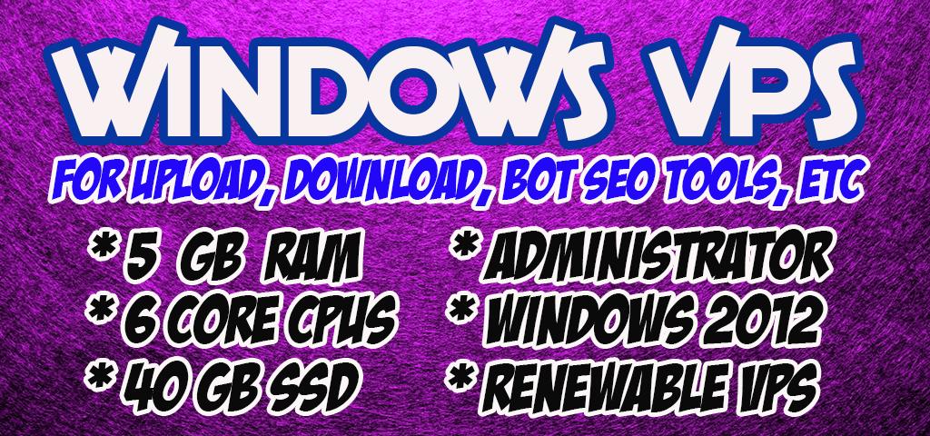 RenewabLe - WINDOWS VPS Rdp 6 Core Cpu Ram 5 GB SSD 40 gb