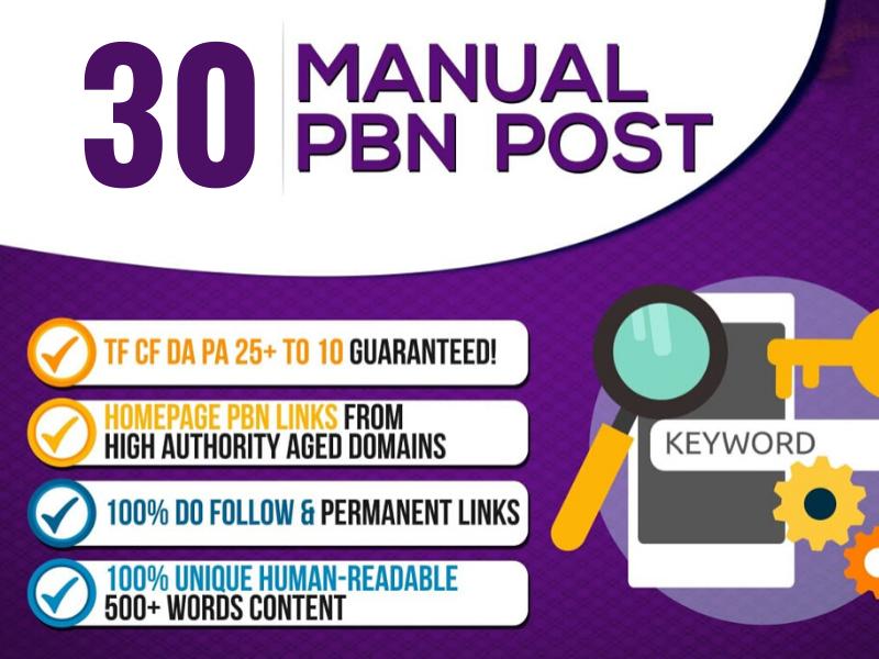 Create 30 TF 30 + CF 20+ PBN Post Backlinks