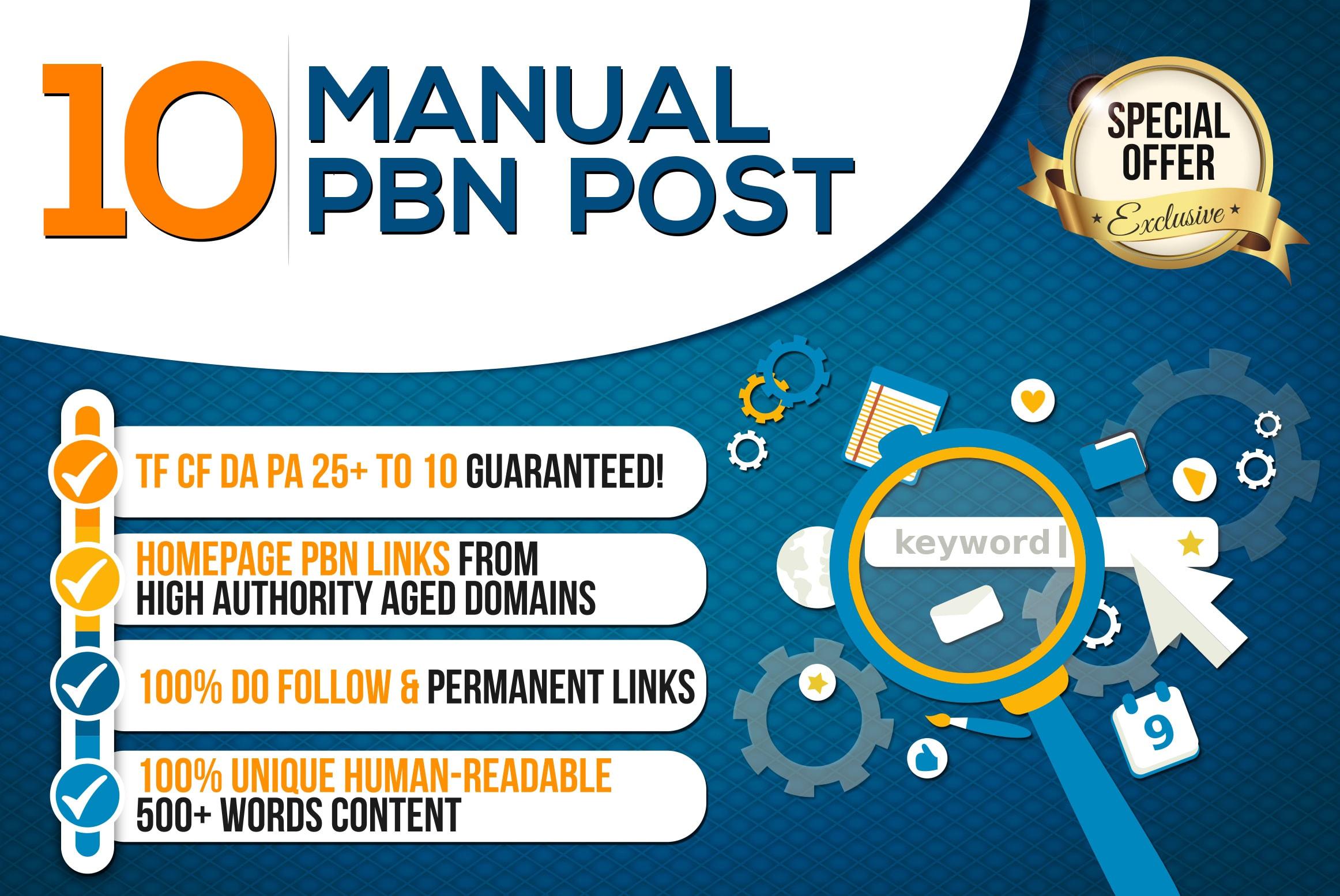 build 10 Manual High Trustflow Dofollow Homepage PBN Backlinks