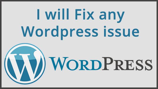 I will fix any Wordpress issue