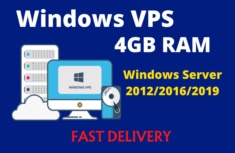 Windows Server 2012/2016/2019 RDP VPS 4GB RAM WITH 80 SSD 2vCPU