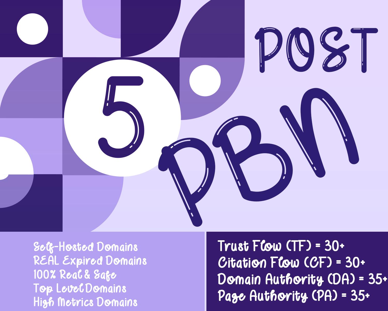 Do 5 PBN Post on DR 30+ websites