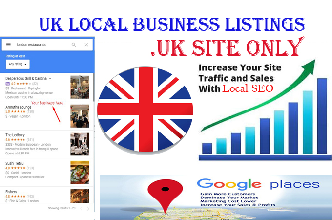 I will do 30. UK local listings only for UK local business ranking