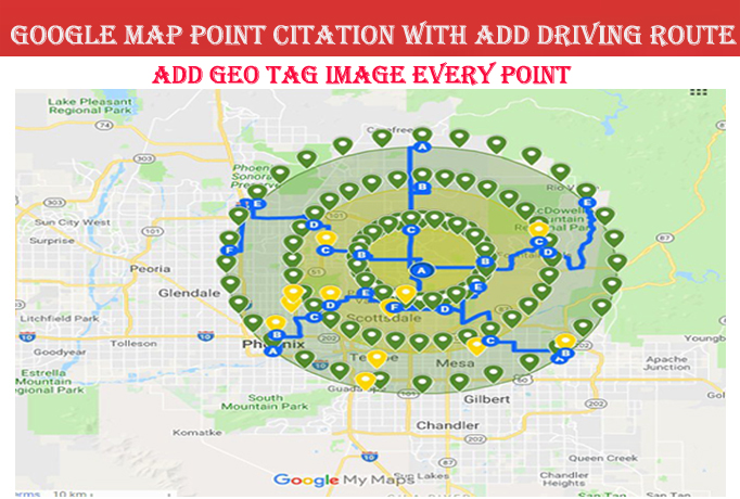 do 50 google maps point citations with add driving route for any country