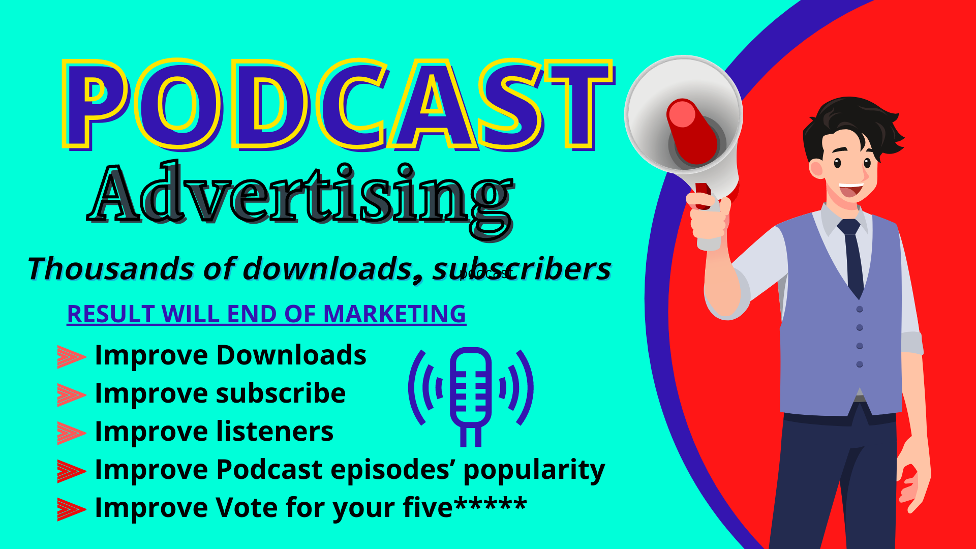 Promote your podcast for increasing audience 25k downloads,  listen and more