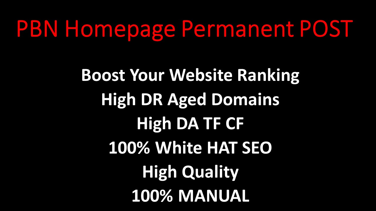 Create Manually 5 Homepage Permanent PBN Post UNIQUE Domain with High DA TF CF Authority Backlinks