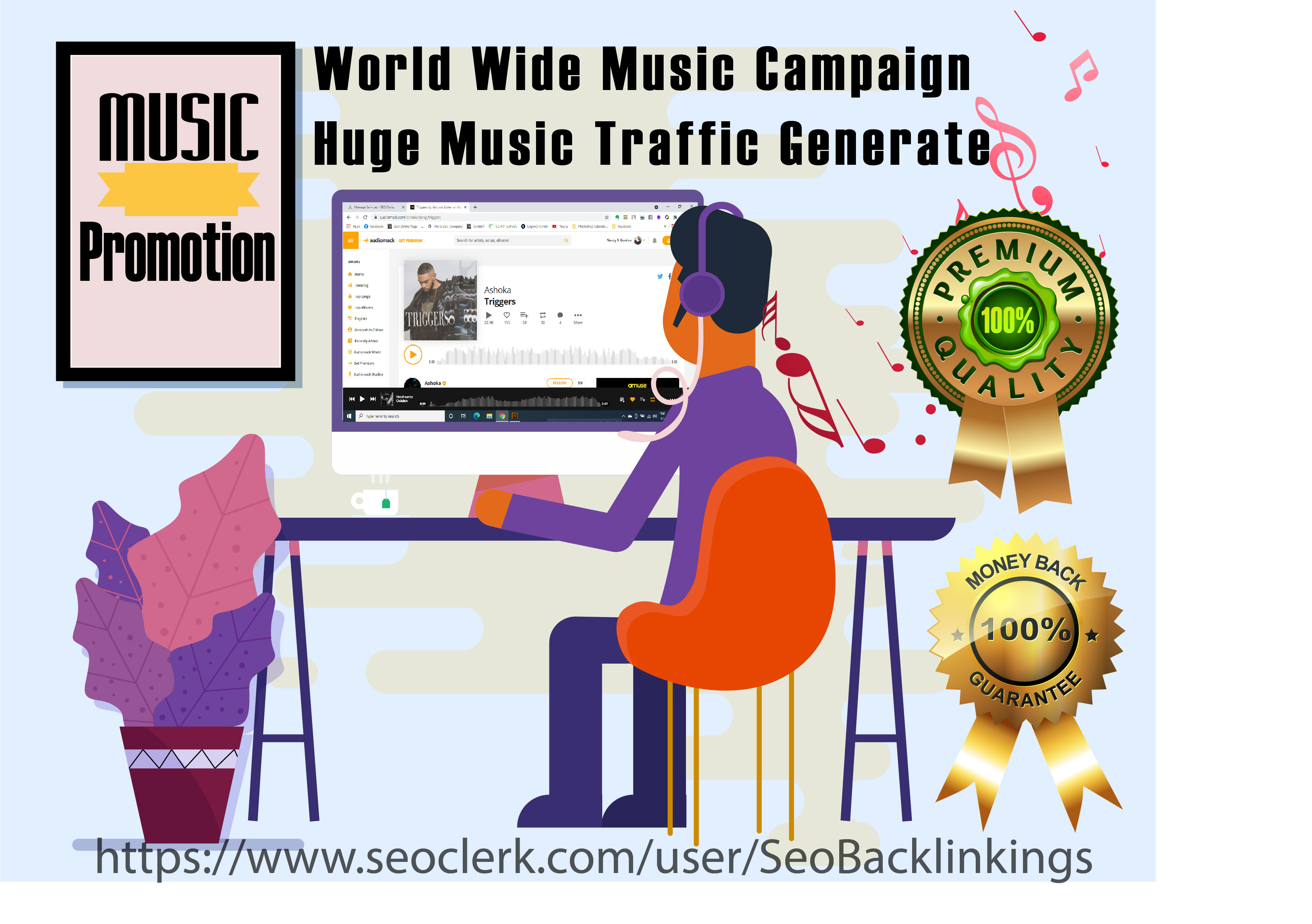 Worldwide Music Campaign with Huge Organic Audiomack Music Traffic
