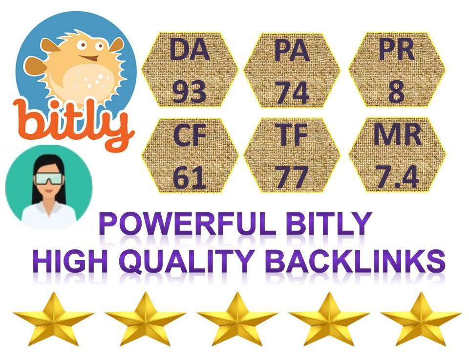Supper Powerful Bitly 100 Share Backlinks High Quality DA, 93 PA, 74 Backlinks