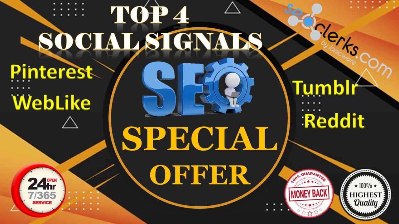 8,200 Real High Quality PinterestWebLikeTumblrReddit Share Social Signals SEO & Social Campaigns