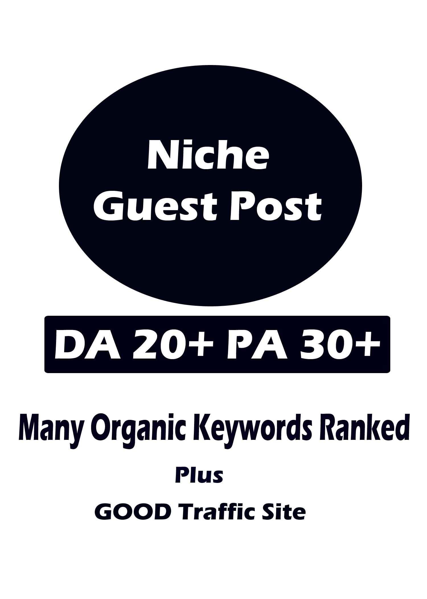 Niche Guest Post on DA 20 plus PA 30 plus sites